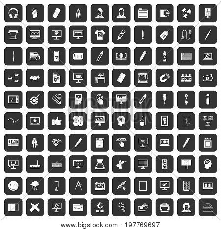 100 webdesign icons set in black color isolated vector illustration