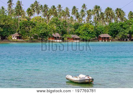 Beachfront bungalows of Oyster Island Resort - Espiritu Santo Vanuatu, 27 September 2012