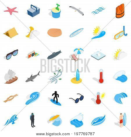 Beach icons set. Isometric style of 36 beach vector icons for web isolated on white background