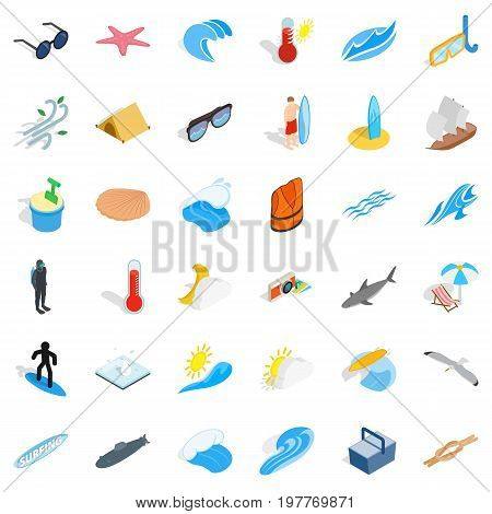 Rest in beach icons set. Isometric style of 36 rest in beach vector icons for web isolated on white background