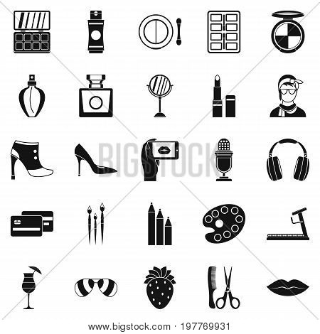 Hangout icons set. Simple set of 25 hangout vector icons for web isolated on white background