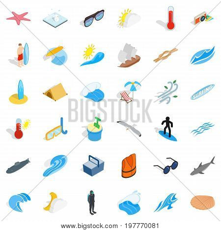 Summer rest icons set. Isometric style of 36 summer rest vector icons for web isolated on white background