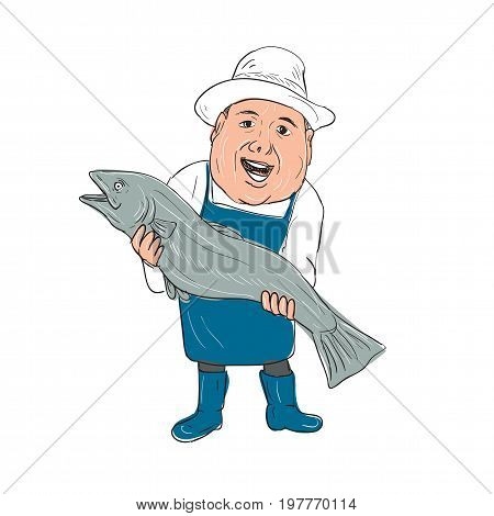 Illustration of a Fishmonger Presenting selling Fish front view done in hand drawing Cartoon style.