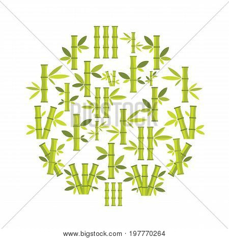 Bamboo flat icons set on circle. Bamboo vector illustration for design and web isolated on white background. Bamboo vector object for labels, logos and advertising