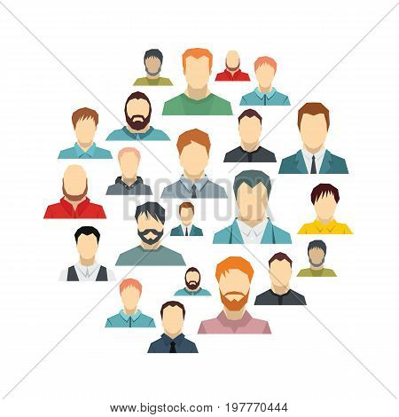 Man avatar flat icons set on circle. Man avatar vector illustration for design and web isolated on white background. Man avatar vector object for labels, logos and advertising