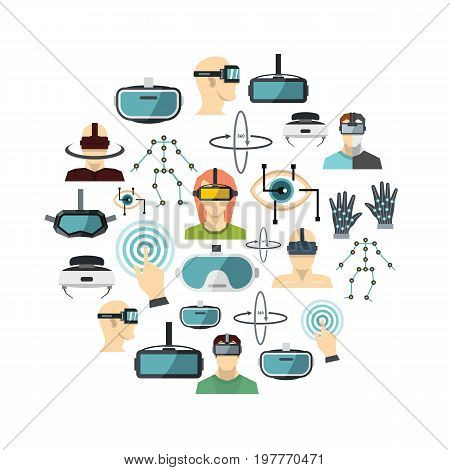 Virtual reality flat icons set. VR vector illustration for design and web isolated on white background. Virtual reality vector object for labels, logos and advertising