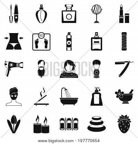Cosmetology icons set. Simple set of 25 cosmetology vector icons for web isolated on white background