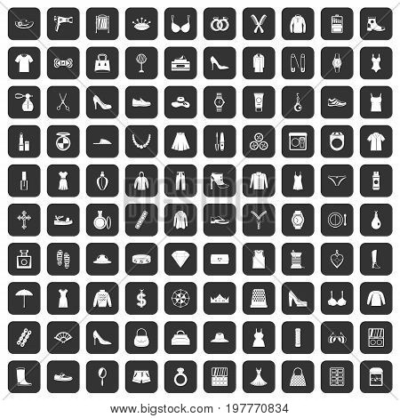 100 womens accessories icons set in black color isolated vector illustration