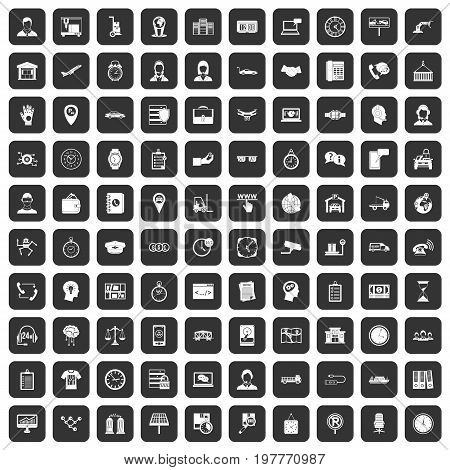 100 working hours icons set in black color isolated vector illustration
