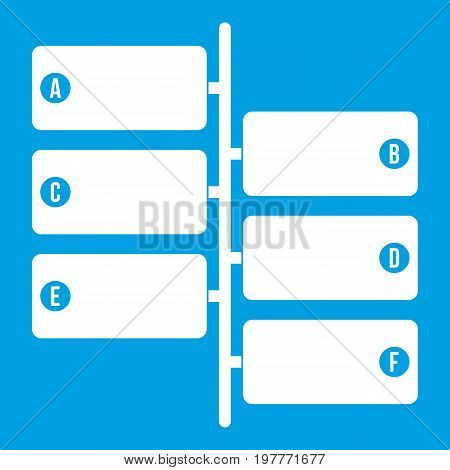 Infographic blocks on signpost icon white isolated on blue background vector illustration