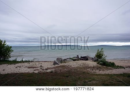 The beach in Alexander Henry Park in Mackinaw City, Michigan, during June.