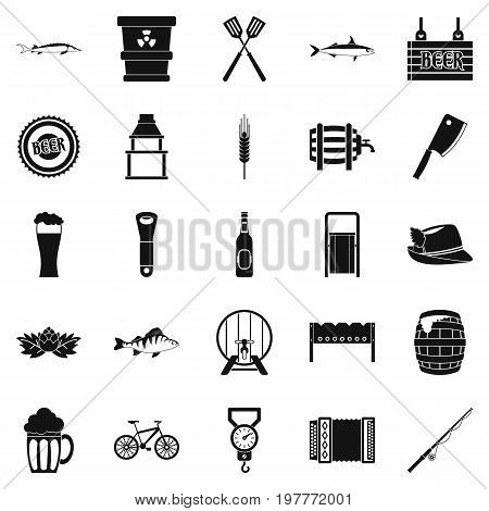Fishery icons set. Simple set of 25 fishery vector icons for web isolated on white background