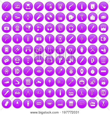 100 portable icons set in purple circle isolated on white vector illustration