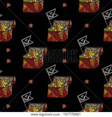 Seamless pattern with little pirate trunk and pirates flag embroidery stitches imitation. Embroidery vector illustration with trunk with money diamond and other.