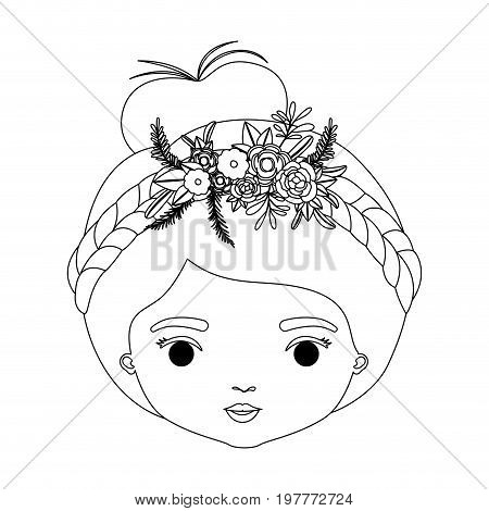 monochrome silhouette of caricature closeup front view face woman with collected hairstyle and braid crown decorate with flowers vector illustration