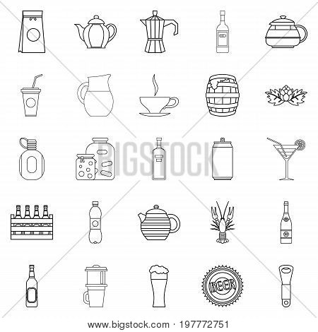 Juice icons set. Outline set of 25 juice vector icons for web isolated on white background