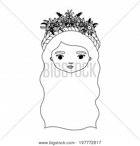 monochrome silhouette of caricature front view face woman with wavy long hairstyle and braid crown decorate with flowers vector illustration