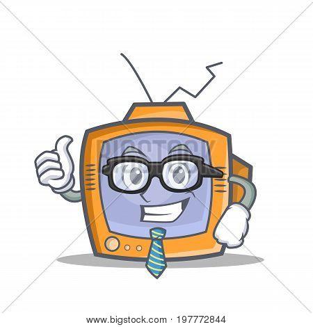 Businessman TV character cartoon object vector illustration
