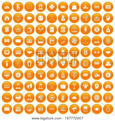 100 sweepstakes icons set in orange circle isolated vector illustration