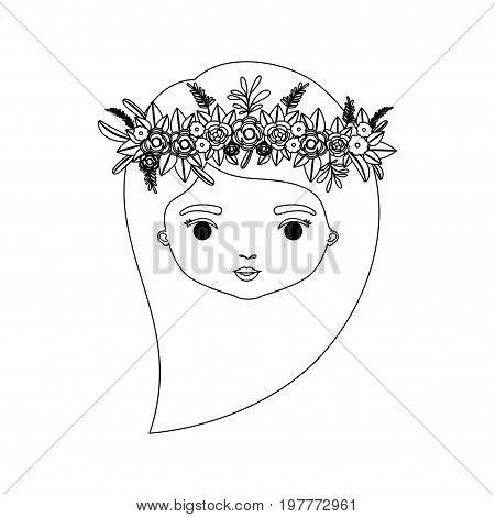 monochrome silhouette of caricature front view face woman with long side hairstyle and crown decorate with flowers vector illustration