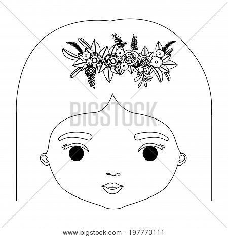monochrome silhouette of caricature closeup front view face woman with straigh short hairstyle and crown decorate with flowers vector illustration