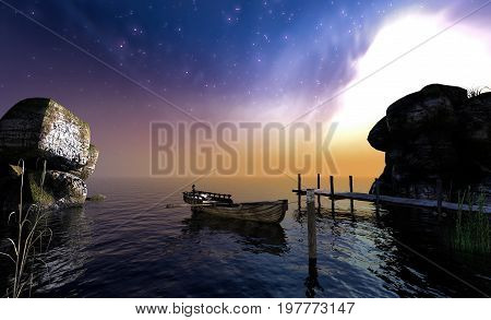 Antique rowboat on the lake at early morning 3d rendering
