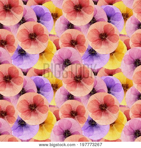 Poppy. Texture of flowers. Seamless pattern for continuous replicate. Floral background photo collage for production of textile cotton fabric. For use in wallpaper covers