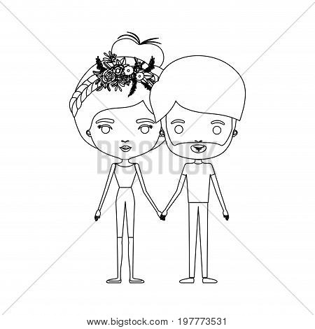 monochrome silhouette of caricature couple standing and both with pants and her with collected hair and floral crown and him with beard vector illustration