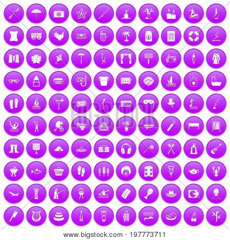 100 recreation icons set in purple circle isolated on white vector illustration