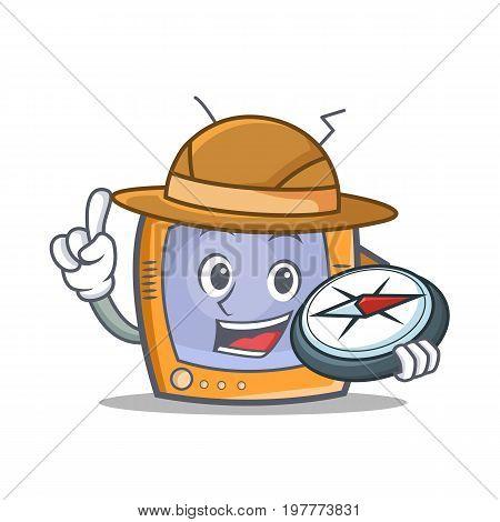 Explorer TV character cartoon object vector illustration