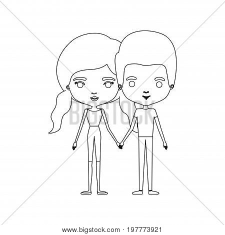monochrome silhouette of caricature couple standing and both with pants and her with hair pigtails vector illustration