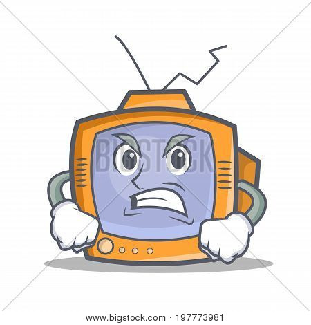 Angry TV character cartoon object vector illustration