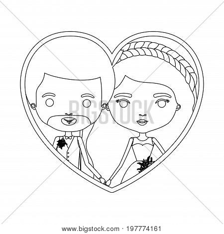monochrome silhouette heart shape portrait caricature of newly married couple groom with formal wear and bride with wavy long hairstyle