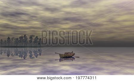 Antique rowboat on the lake at early evening 3d rendering