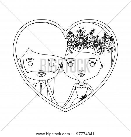 monochrome silhouette heart shape portrait caricature of newly married couple bearded groom with formal wear and bride with straight medium hairstyle vector illustration