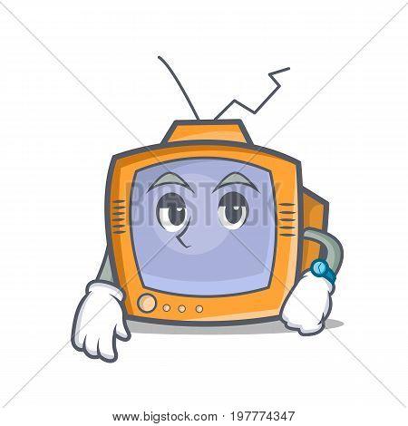 Waiting TV character cartoon object vector illustration