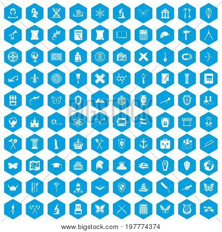 100 archeology icons set in blue hexagon isolated vector illustration