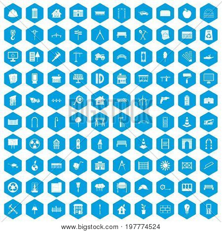 100 architecture icons set in blue hexagon isolated vector illustration
