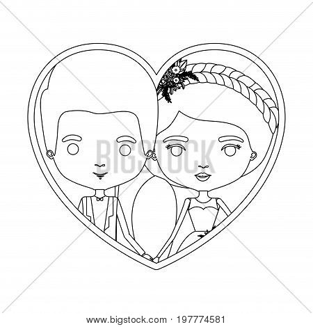 monochrome silhouette heart shape portrait caricature of newly married couple groom with formal wear and bride with ponytail side long hairstyle vector illustration