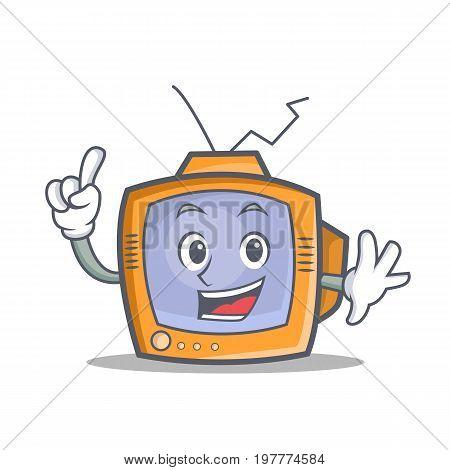 Finger TV character cartoon object vector illustration
