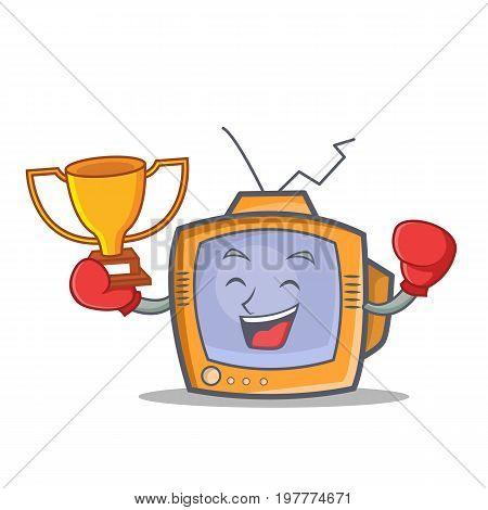 Boxing TV character cartoon object winner vector illustration