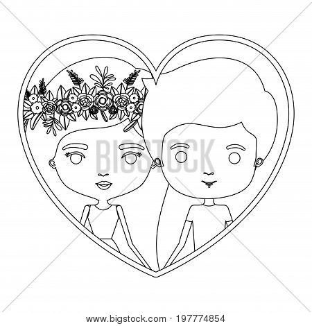 monochrome silhouette heart shape portrait caricature with couple and her in dress with long straight hair with floral crown and him in casual clothes vector illustration