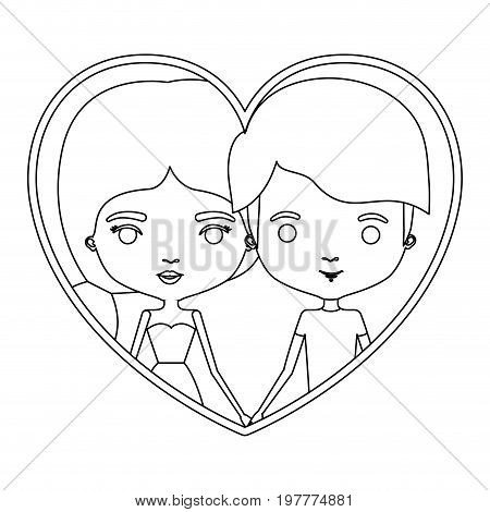 monochrome silhouette heart shape portrait caricature with couple and him with short hair and her with dress and ponytail hairstyle vector illustration