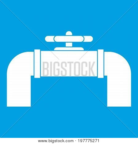 Industrial pipe valve icon white isolated on blue background vector illustration