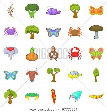 African animals icons set. Cartoon set of 25 african animals vector icons for web isolated on white background