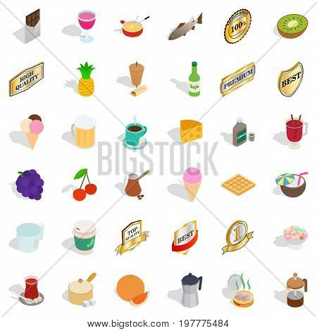 Different beverage icons set. Isometric style of 36 different beverage vector icons for web isolated on white background