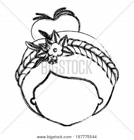 monochrome blurred silhouette of caricature faceless woman with collected hairstyle and braid crown decorate with flowers vector illustration