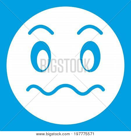 Suspicious emoticon white isolated on blue background vector illustration