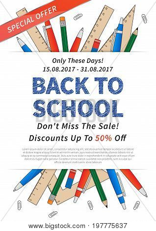 Promotion poster Back to school vector illustration. Advertising banner Back to school with list of stationery elements: pencil pen ruler staple and sample text.