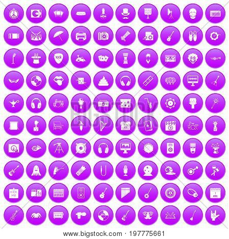 100 show business icons set in purple circle isolated on white vector illustration